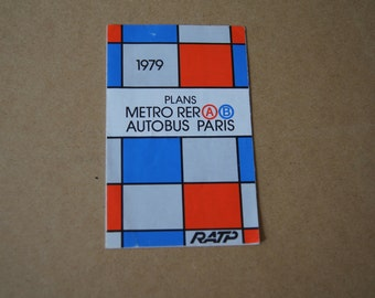 VIntage 1979 - Paris Metro Bus Map