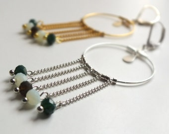 NISHKA earrings / / small hoops gold or silver / / small drop / / glass faceted beads