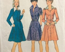 Simplicity 6554 vintage 1970's misses front button dress sewing pattern size 10 bust 32.5