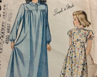 Simplicity 3503 girls nightgown size 6 vintage 1940's sewing pattern