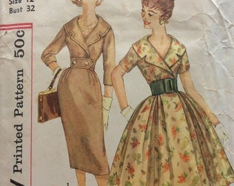 Simplicity 3068 misses dress w/two skirts size 12 bust 32 vintage 1950's sewing pattern