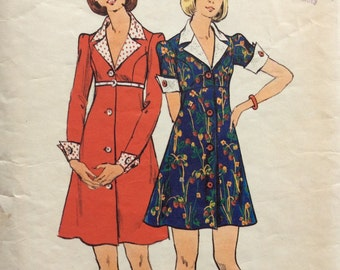 Butterick 3758 vintage 1970's junior misses high-waisted dress sewing pattern size 9/10 bust 30 1/2 bust 30.5