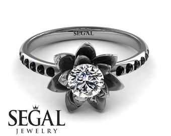 Unique Engagement Ring White Gold Diamond ring Lotus Engagement Ring Rose Ring Unique Engagement Ring - Lotus