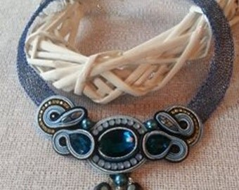"Crochet wire with Soutache necklace can be good for left-handed suitable element ""Blue night"" 3 (jewelry set)."