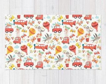 Boys Room Area Rug 2x3 Rug Cars Trucks Planes Kids Room Rug 3x5 Rug 4x6 Area