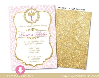Princess Birthday Invitation • Pink and Gold Princess Invite • Princess Birthday Party Invite Instant Download DIY Printable