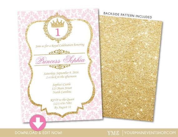 Princess birthday invitation pink and gold princess invite il570xn filmwisefo