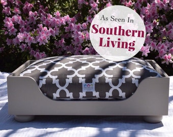 Wooden Dog Bed || As seen in Southern Living Magazine || Designer Custom Wood Bed || Medium Small || Hand Made  in NC  by Three Spoiled Dogs