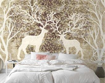 Moose In Woods Wallpaper Animal Deers Tree Wall Decal Art Bedroom Wall  Paper Tan Brown Green Part 72