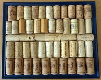 Dark Blue Framed Wine Cork Notice Board / Corkboard /Pinboard