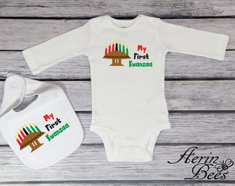 Happy Kwanzaa Bodysuit - Toddler Tee Shirt - Personalize - Kwanzaa Toddler T Shirt - My First Kwanzaa - KW1504