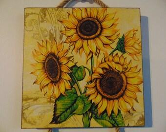 Golden sunflowers decor,Wall decor,flowers art, wall wodden hangings,wodden decor