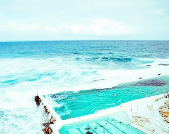Bondi Beach Print, Bondi Beach Photo, Beach Print, Ocean Pool, Ocean Water Print, Beach Wall Art, Large Art Poster, Beach Photography