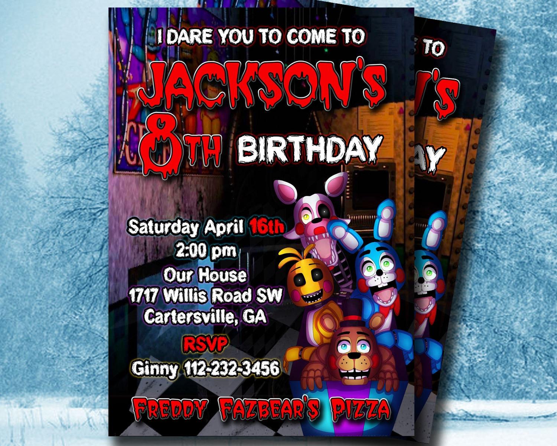 Five nights at freddy s invitation 5 nights at by okinvitations