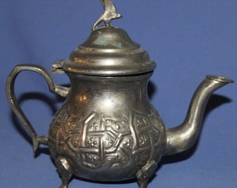 Antique Islamic Metal Footed Teapot