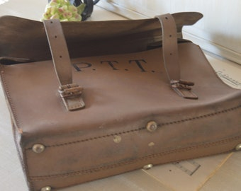french vintage La Poste  PTT Genuine  Real Leather French Postman  Deliverer Bag  Thick Leather  Collector