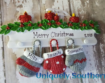 Personalized Hanging mittens Ornament family of 3