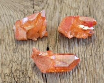 Tangerine aura quartz cluster, orange aura quartz cluster, bohemian decor, boho decor, aura crystal, altar crystal, pagan altar, boho decor