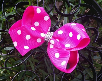 Hot Pink with White Polka Dots Boutique Hairbow
