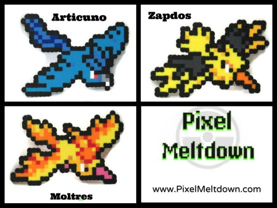 Items similar to Articuno, Zapdos, Moltres Legendary Birds ... - Pixel Pokemon Legendaire