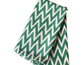 "Green Chevron Block Printed Table Napkins Set of 6 Set of 12 Cotton Cloth Napkins Chevron Print Napkins 20x20"" Table Napkins"