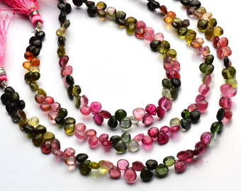 Natural Gemstone Super Quality Multi Color Tourmaline Approx. 5MM Faceted Heart Shape Briolettes Full 8 Inch Strand Multi Color Beads
