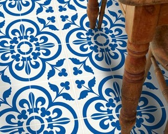 Vinyl Floor Tile Sticker - Floor decals - Carreaux Ciment Encaustic Corona Tile Sticker Pack in Blue