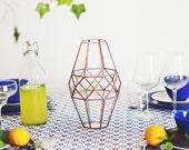 Large Glass Geometric Vase, Wedding Table Centerpiece, Glam Decor, Housewarming, Anniversary Gift, Hostess Gift, Contemporary Copper Vase
