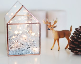 Glass House Planter, Fairy Lights Box, Christmas Decor, Geometric Display Box, Holiday Lights, Terrarium Container, Copper Jewelry Box
