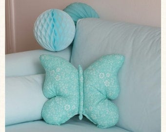 Cushion Butterfly Mint cotton 40x40cm