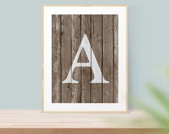 Rustic Wall Art - Monogram A Print - Letter A Monogram - Rustic Home Decor - Monogram Art - Letter Art - Monogram Letter - Letter A Art