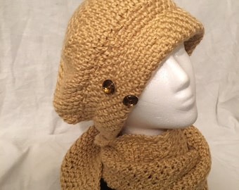 Bone Color Hat and Scarf