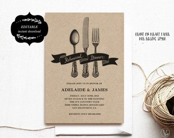 Printable Rehearsal Dinner Invitation Card Template, Kraft Rehearsal Dinner Card, Instant DOWNLOAD - EDITABLE Text - 5x7, RD003