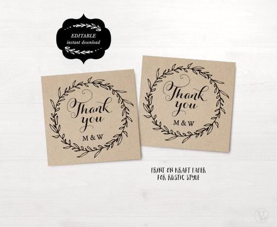 Favor Tags, Printable Wedding Favor Tag Template, Thank You Tags ...