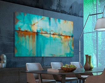 Abstract painting Large Modern Turquoise Blue Green Orange moderne original, MADE TO ORDER. Dimensions: 63.8 x 38.2 inches (162 x 97 cm)