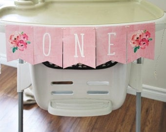 First Birthday. Banner. One. Babys first. Floral Banner. Watercolor. Birthday Party. Custom. Blush. Decoration. Highchair. Girl. Pink.