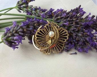 Faux Pearl Stylised Flower Brooch