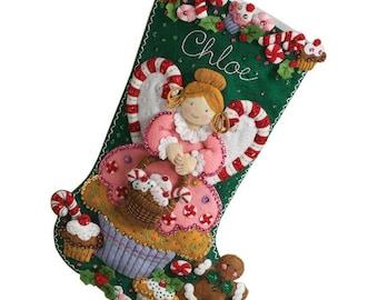 """Finished Cupcake Angel 18"""" Personalized Bucilla Felt Stocking"""