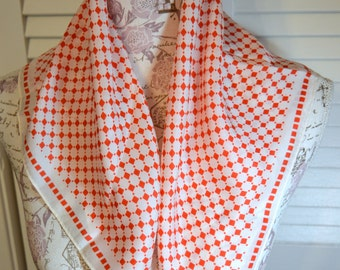 Vintage Retro Scarf Red White Square Design Glentex Rayon Silk Blend Japan Vintage Scarf Vintage Fashion Retro Fashion Red White Scarf