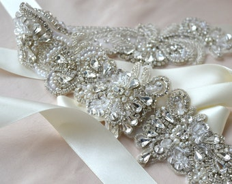 Vintage Bridal Sash, Bridal Belt,Wedding Dress Sash, - Tempest Sash