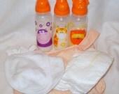 Handmade Orange Animal Reborn Baby Doll Bag Fake Milk Bottle Nappies Bibs