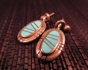 Tribal Sterling Silver Turquoise Earrings - S E