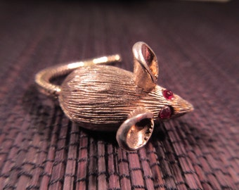 Sterling Silver Little Rat Brooch with Red Eyes