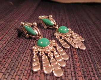 Tribal Sterling Silver Green Turquoise Earrings - Mexico