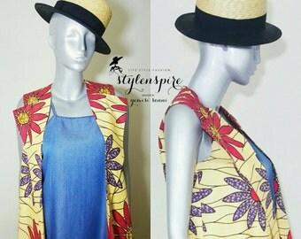 New Collection | Ankara Print AMARA SLEEVELESS VEST | Vest Jacket with Pockets