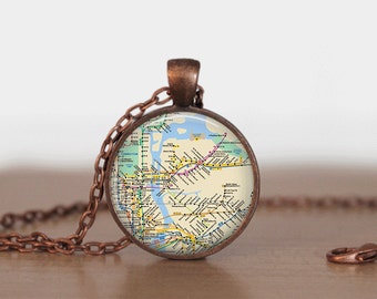 NY Subway Map Necklace or Keychain