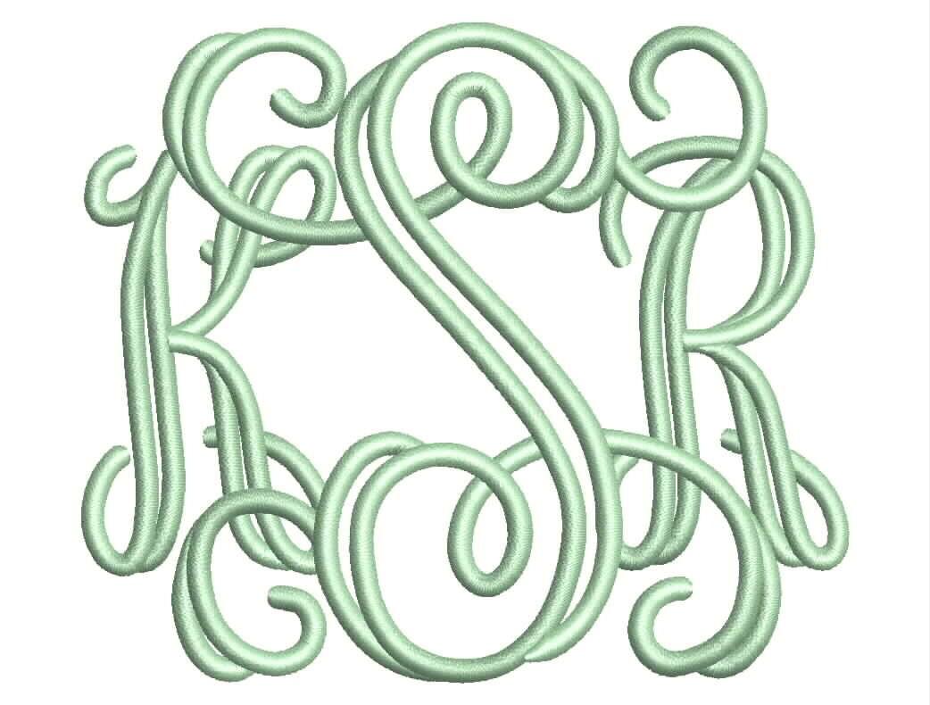 Open vine letter monogram font machine embroidery