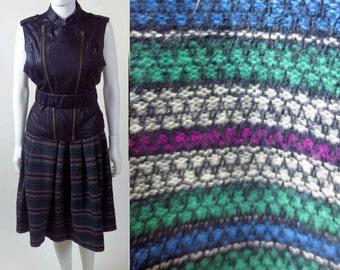 80s vintage peasant striped pleated dirndl midi length folk secretary wool skirt