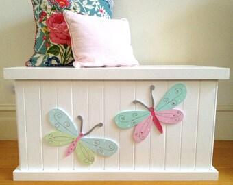Toy Box - Butterfly, Girls Toy Box, Toy Chest, Toy Storage, Wooden Box, Toy Bin, Child's Toy Box, Storage Box, Childrens Furniture, Storage