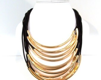 Chunky Black and Gold Multi-Cord Statement Necklace
